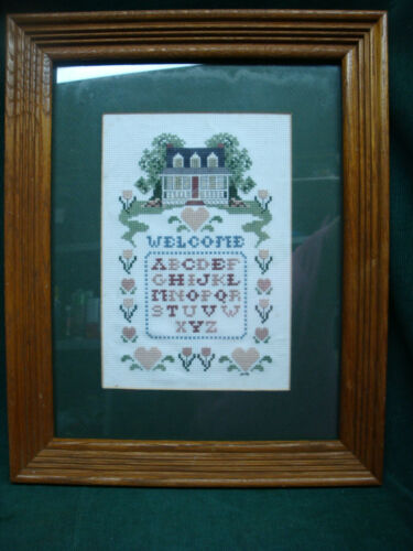 Completed & Framed Counted Cross Stitch Sampler