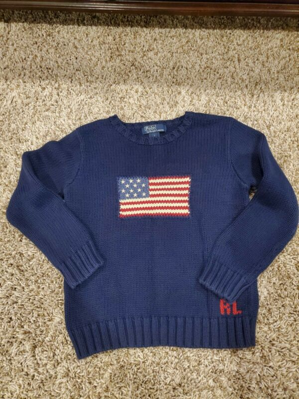 Ralph Lauren Boys Vintage Size 7 Navy Flag Sweater Euc