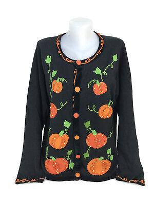 Quacker Factory Halloween Sweater Beaded Cardigan Pumpkin Patch Size 1X - Pumpkin Sweater
