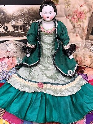 Vintage Doll Dress for your Antique China Emerald Green Ball Gown & Jacket