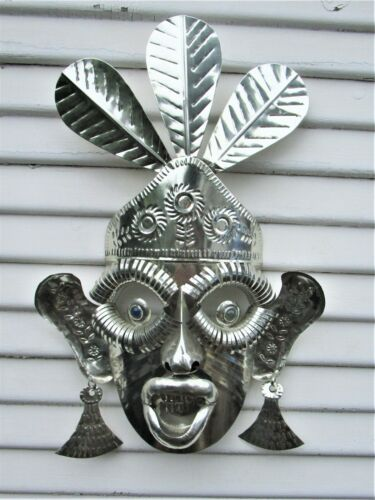 Vintage Large Mexican Folk Art Mexico Metal Tin Mask w/Glass Eyes Taxco Signed