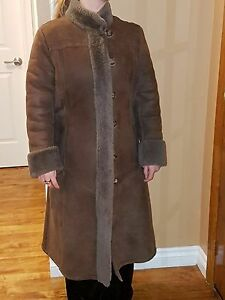Women's coco coloured genuine sheepskin coat