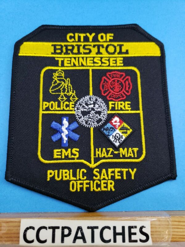 BRISTOL, TENNESSEE PUBLIC SAFETY OFFICER POLICE FIRE EMS SHOULDER PATCH TN