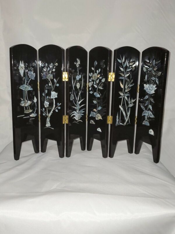 Vintage Black Lacquer Inland W/Mother of Pearl Table Top Room Divider wood 2side