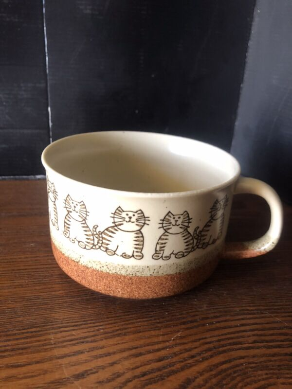 Fat Kitty Cat Tabby Large Soup Mug Stoneware Rustic Earth tones Vintage