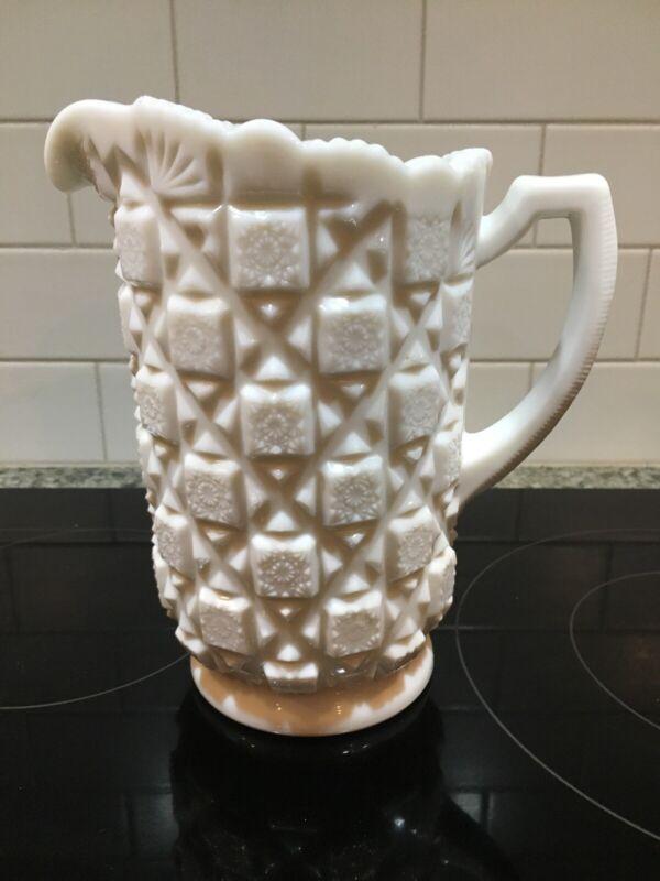 "Vtg Westmoreland Milk Glass Embossed Old Quilt Pattern Pitcher 8 1/4"" EUC"