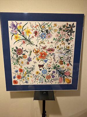 "RARE FRAMED GUCCI V. Accornero SCARF Silk Vintage 34"" Floral 100% Silk"