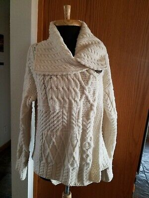 Carraigdonn Sweater Shawl Collar Merino Wool Ireland Size M
