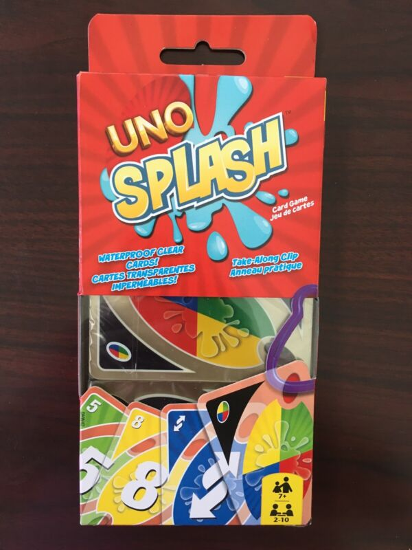 Brand New UNO Splash Card Game Waterproof Clear Cards Take Along Clip