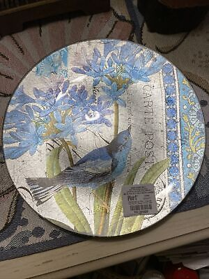 """Pier One imports bird with flowers and letter plate Decor Foil  8"""" round Blue"""