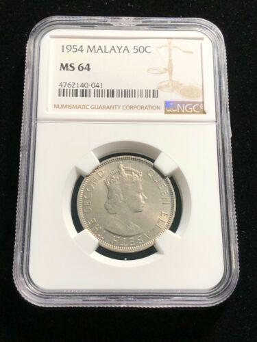 1954 MALAYA & BRITISH BORNEO 50 Cents, Rare Date, Grade, NGC MS 64 UNC BU