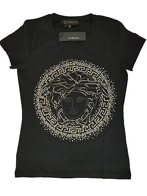 T Shirt Versace Jeans Tee Famous 3d Logo Girls Women's Model Black Any Size