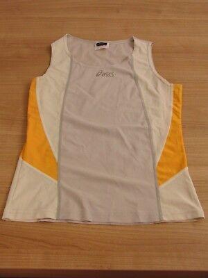 OASICS Damen Sport TOP, Gr. M, beige/grau/orange, Maße Achsel 37 cm, Länge 54 cm gebraucht kaufen  Versand nach Austria