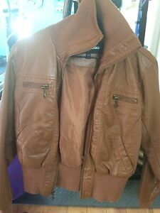 2 faux leather jackets