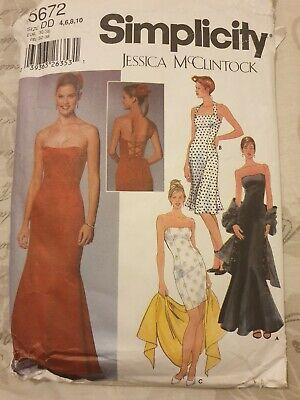 Simplicity 5672 sewing pattern Jessica McClintock evening gown dress 4 6 8 10