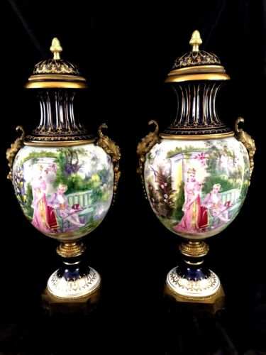 """HUGE 22"""" VINTAGE PAIR SEVRES STYLE PORCELAIN AND BRONZE HAND PAINTED URNS"""