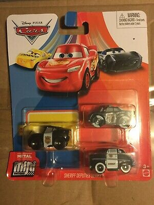 DISNEY PIXAR CARS MINI RACERS OFFICER LIGHTNING MCQUEEN SHERIFF 3 PACK NEW LQQK