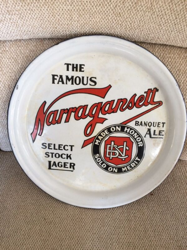 Antique Narragansett Porcelain Beer Tray/Advertising Sign