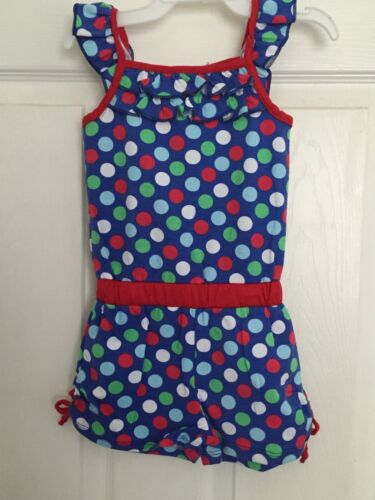 New Sweet Soft Baby Toddlet Girls Kint Rompers Blue Polka Dots 12 M