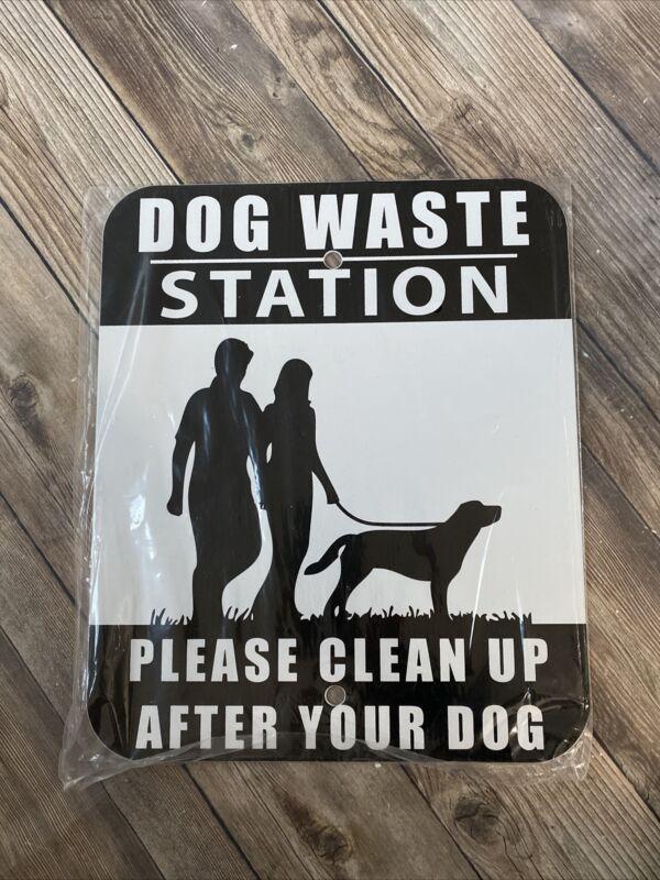 Clean Up After Your Dog METAL Waste Station Sign