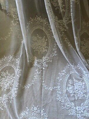 """STUNNING HUGE NEW 52""""X94"""" FRENCH VINTAGE STYLE DELICATE LACE/NET CURTAINS/PANELS"""
