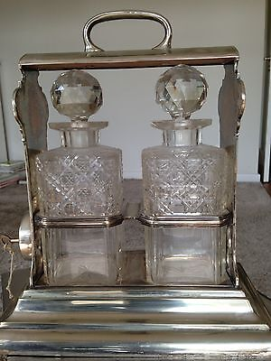 Walker &Hall Sheffield, Silver Plated Holdfast Patent Two Bottle Tantalus,