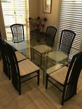 Glass Dining Table 183cmx107cm & 6 black gloss chairs- ITALIAN Paradise Point Gold Coast North Preview
