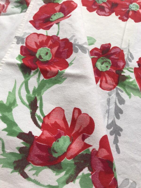 Vintage RED POPPY Tablecloth Wilendur? Cottage GARDEN FLORAL