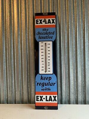 VINTAGE Ex Lax Chocolate  Laxative Thermometer Sign 36x8