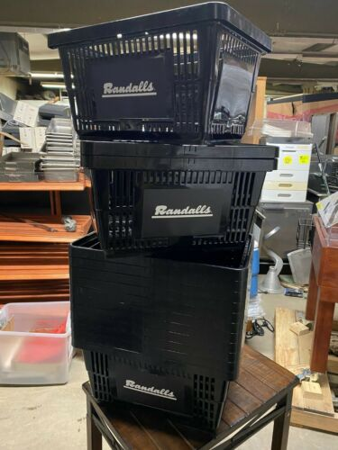 """Set of 14 Black 19"""" x 13.5"""" Plastic Grocery Stackable Food Shopping Baskets"""