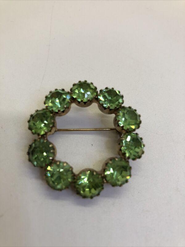 Vintage  Green  Rhinestone Wreath Prong Set  1  1/2