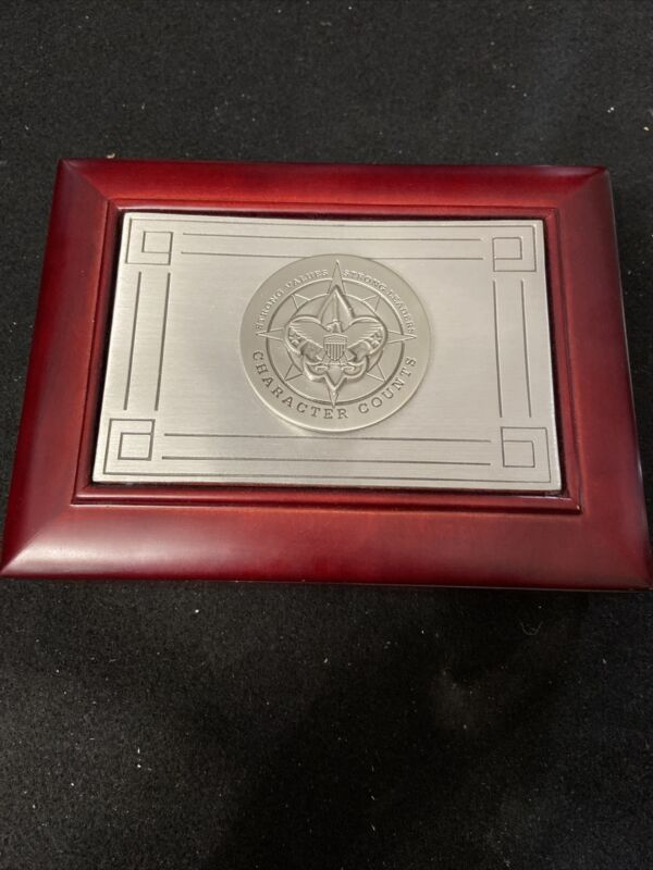 Boy Scouts of America Trinket Box with Character Counts Plaque.