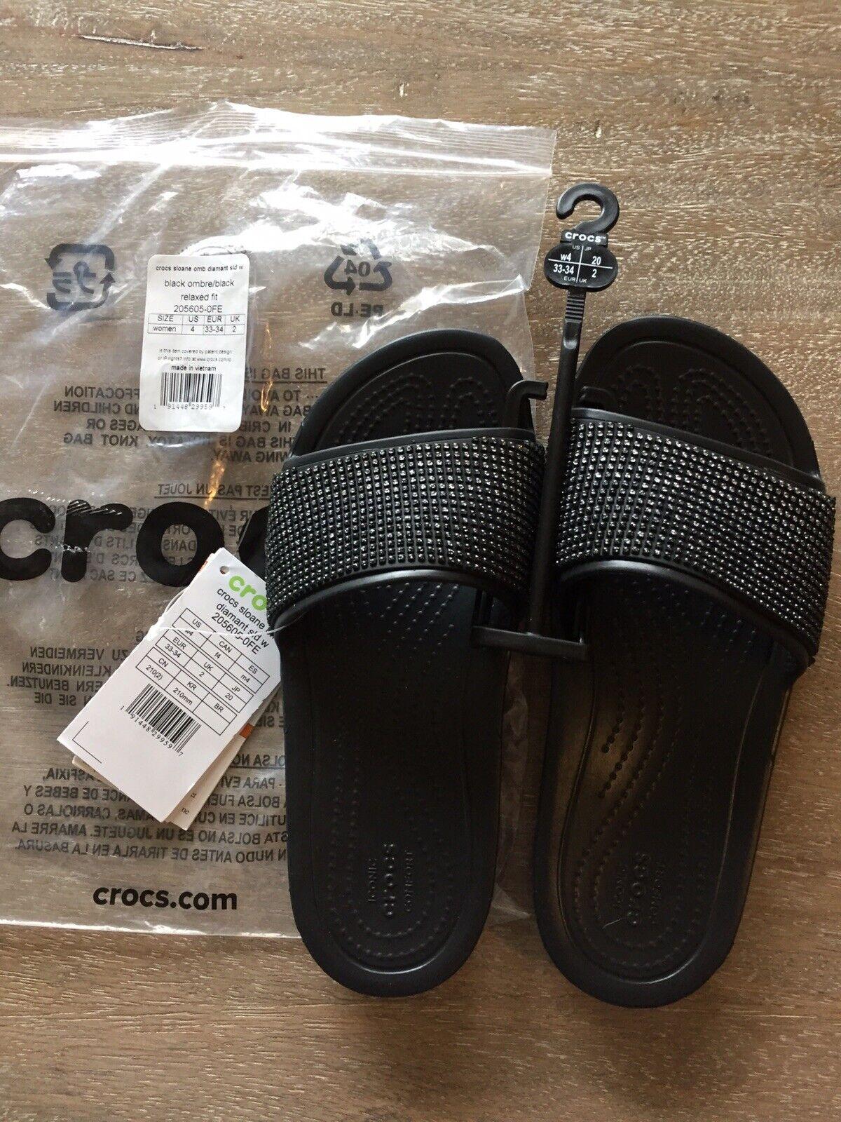 Crocs NEW Women's Sloane Ombre Diamanté Embellished Slides Black Size 4