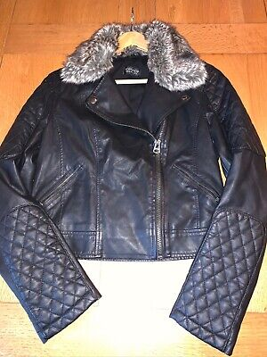Top Shop Faux Leather Jacket UK Size 10 Very Little Use.