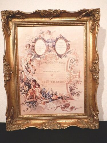 Victorian Style Marriage Certificate Display in Ornate Gold Frame 12x14