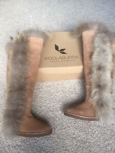 New in box shearling suede boots & genuine fox fur