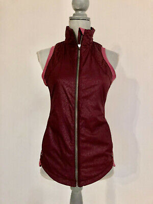 Lululemon, Fitted Burgandy Embossed Solid and Striped Vest, Size 6, NWOT