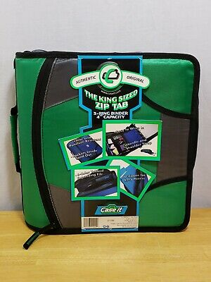 Case-it Zipper Binder With 5 Tab Files D-ring 4 Inch Capacity Green D-186