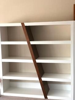 Gloss White and Walnut Montina Bookcase (never used)