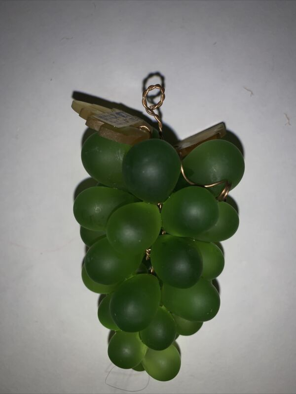 "Mavas Svaton Color Crystal of Bohemia Grapes Bunch Green Czech Hand Made 4"" A1"