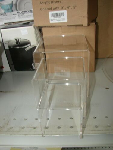 "HESIN Clear Acrylic Display Risers Set of 3 Racks 3"" 4"" 5"" Shop Retail Cake"