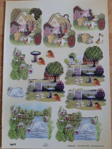 3D Stanzbogen TBZ 580573 Haus und Hof, Garten, Teich