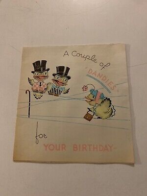 1930'S A COUPLE OF DANDIES FOR YOUR BIRTHDAY GREETING CARD SIGNED - Signs Of Birthday