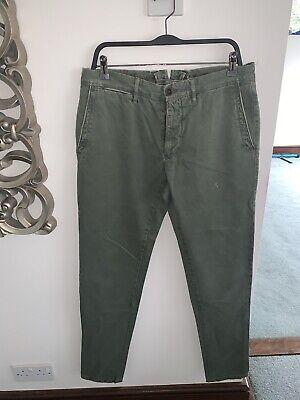Incotex Mens Designer Khaki Green Cotton Chino Trousers Pants