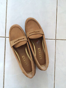 Ralph Lauren size 7 loafers neutral tan leather