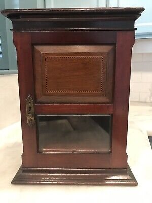 English Antique Mahogany Marquetry Pipe Smokers Cabinet for sale  New Roads