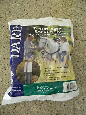 New Dare Electric Fence T-post Safety Cap White Vinyl 25-pk.