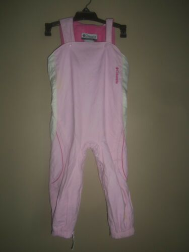 GIRLS COLUMBIA PINK WHITE LINED SNOW SKI PANTS BIBS OVERALLS TODDLER SIZE 3T