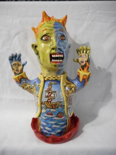 Stacy Lambert NC Pottery Southern Folk Art Face Jug 3-D Figure Sculpture Nice