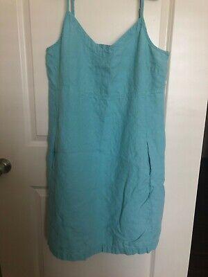 Eileen Fisher Heavy Linen V Neck Cami  Dress, Aqua L
